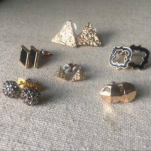 Gold & black stud earring bundle - 6 pairs